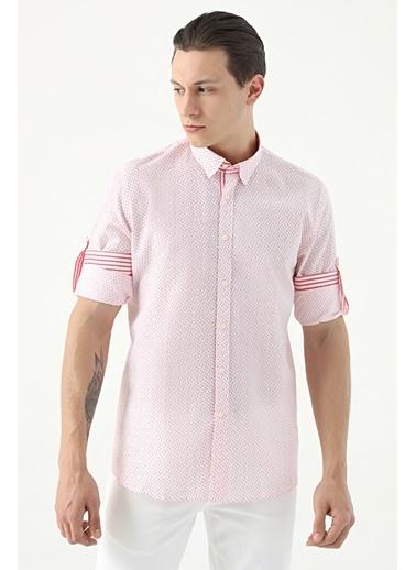 Tween Slim Fit Desenli Loafer Gömlek Kırmızı